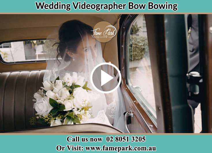 Bride inside the bridal car Bow Bowing NSW 2566