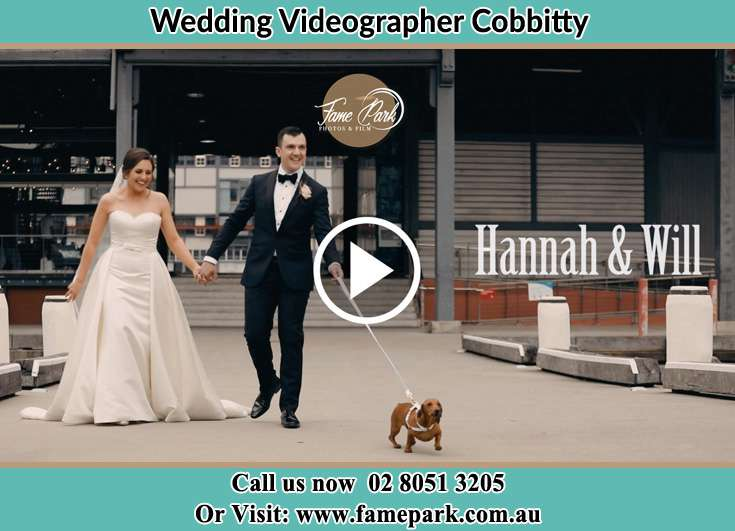 Bride and Groom walking with their dog Cobbitty NSW 2570