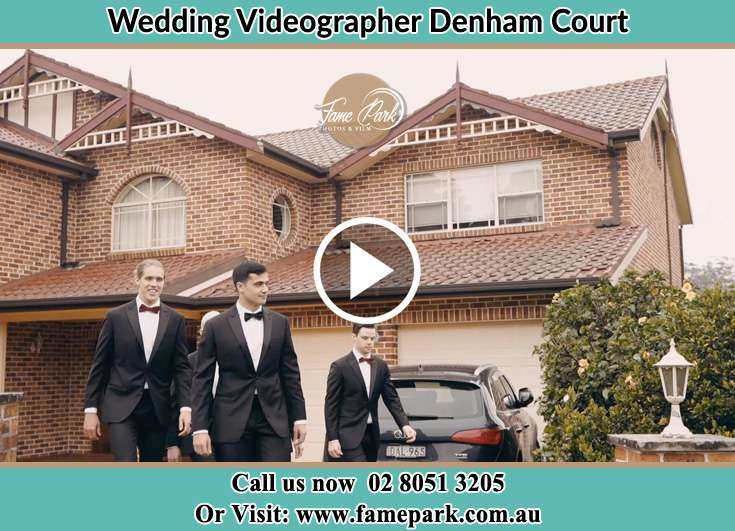 Groom and his secondary sponsors walking outside the house Denham Court NSW 2565