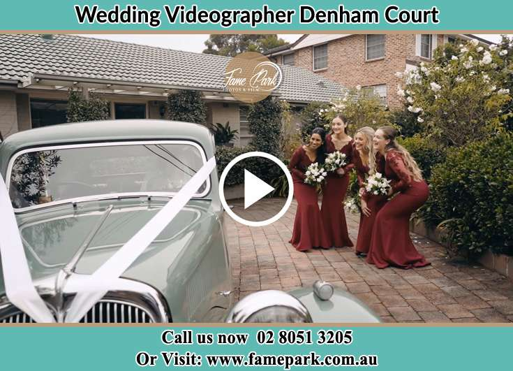 Bride's secondary sponsors looking at the bridal car Denham Court NSW 2565
