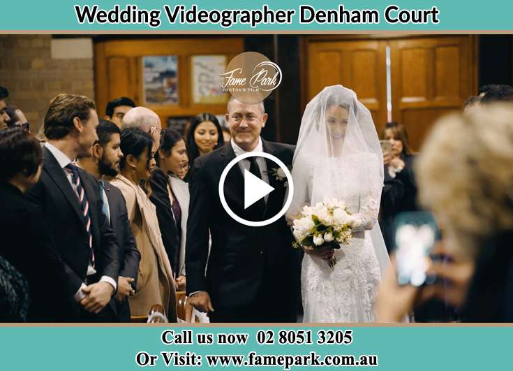 Bride and her father walking at the aisle Denham Court NSW 2565