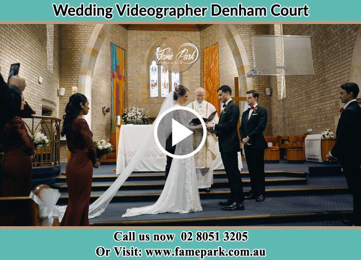 Bride and Groom looking at each other at the altar Denham Court NSW 2565