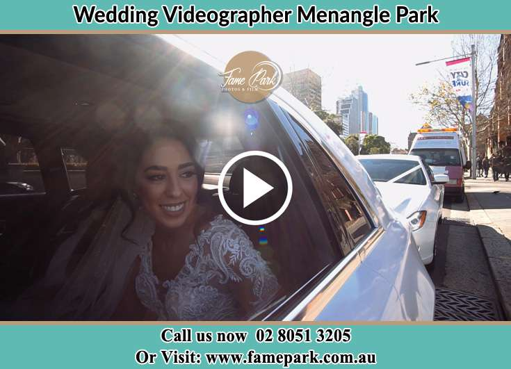 The Bride smiling inside the wedding car Menangle Park NSW 2563